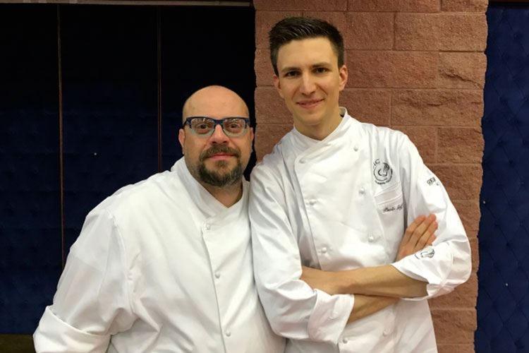 Andrea Alfieri al fianco di Paolo Griffa in cucina al Royal & Golf di Courmayeur