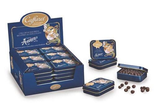 Chicchi di liquirizia e cioccolato fondenteLa nuova creazione di Caffarel e Amarelli