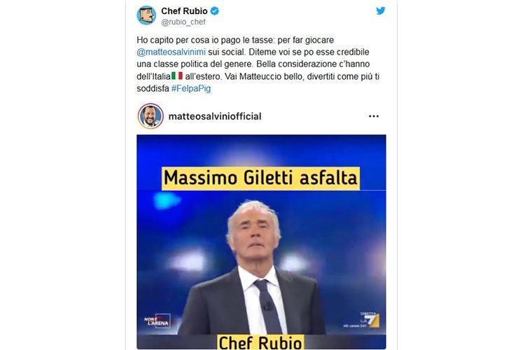 Chef Rubio contro Salvini La polemica corre sui social