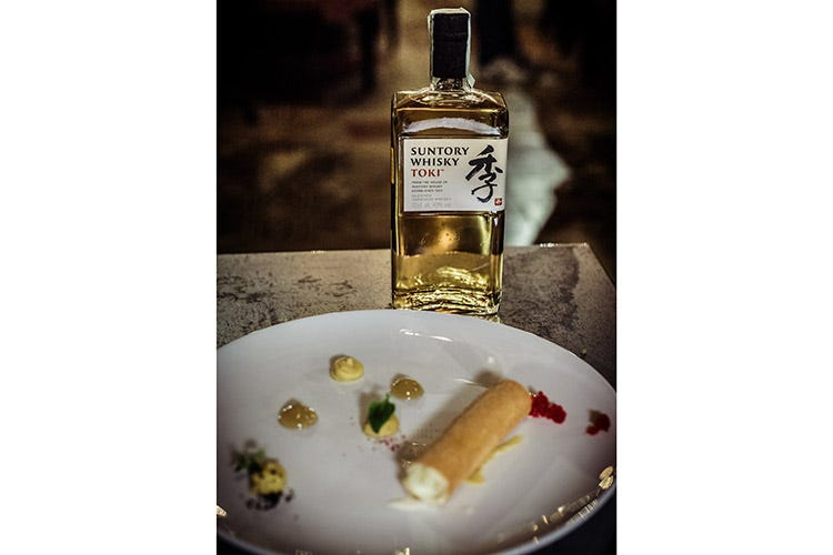 (Cinque whisky distribuiti Martini in un food pairing da stella Michelin)