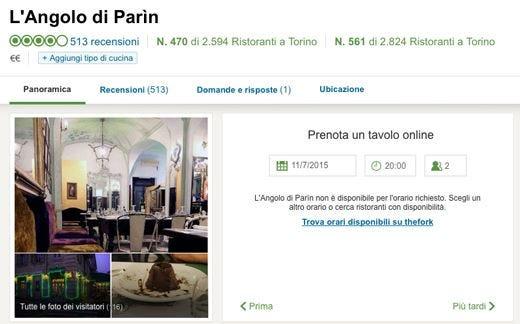 L'Angolo di Parìn contro The Fork Disservizi nelle prenotazioni online