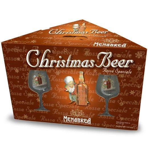 Nuovo packaging con 2 calici serigrafati per Menabrea Christmas Beer