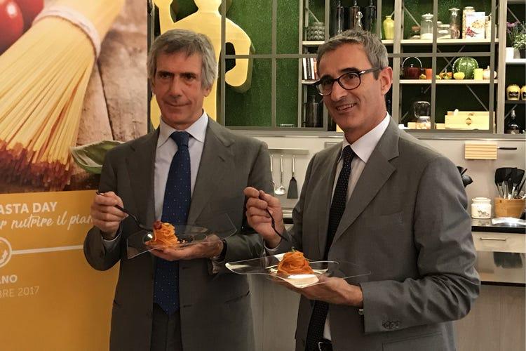 Paolo Barilla e Riccardo Felicetti (Pasta, origine del grano in etichetta Aidepi: «Un decreto non accettabile»)