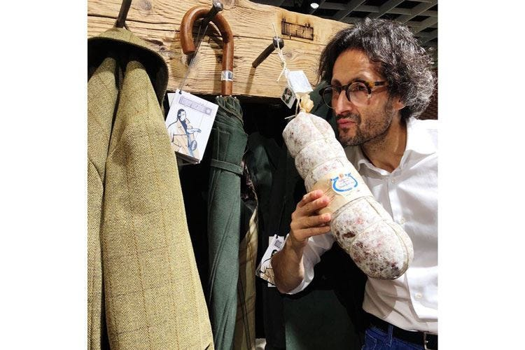 Pitti Uomo, moda e cibo allo stand Landi Un successo il format di Federico Minghi