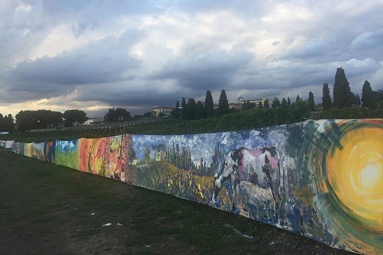 Un chilometro di tela in Franciacorta Simbolo dell'unione fra arte e territorio