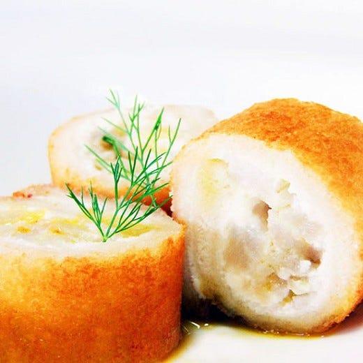 Sushi di pane croccante, con san pietro  al salmoriglio
