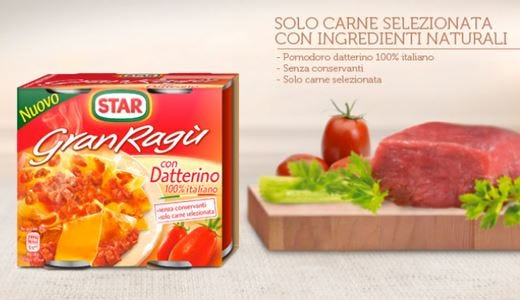 GranRagù con Datterino Ingredienti di qualità per la novità Star