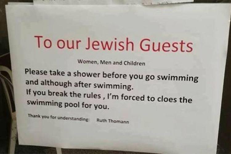 """Cartello per """"clienti ebrei"""" in hotel Caso diplomatico tra Svizzera e Israele"""