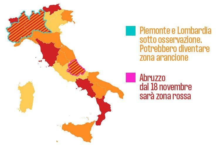 Cartina Lombardia E Piemonte.Lombardia E Piemonte 10 Giorni Per La Zona Arancione Italia A Tavola