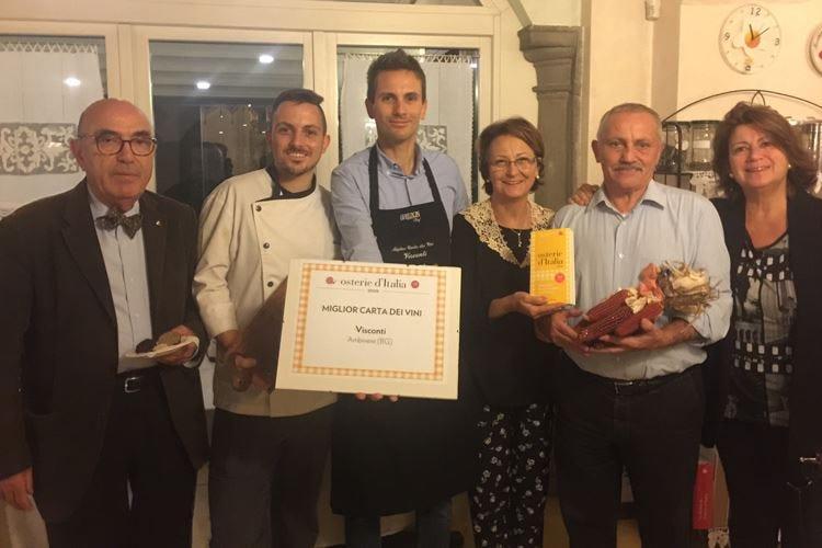 Slow Food premia un'osteria bergamasca per la carta dei vini