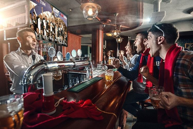 Partita al bar per 4 su 10E i consumi crescono del 30%