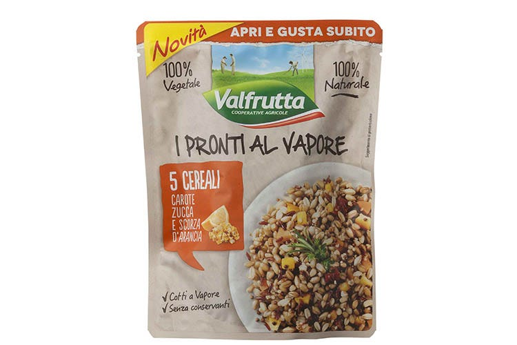 5 Cerali con zucca, carota e scorza d'arancia Pronti al vapore e sani Valfrutta aiuta a mangiare bene