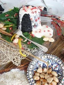 Risotto Gattopardo (Carnaroli al nero di seppia con sorbetto di gambero rosa di Sciacca e melograno)
