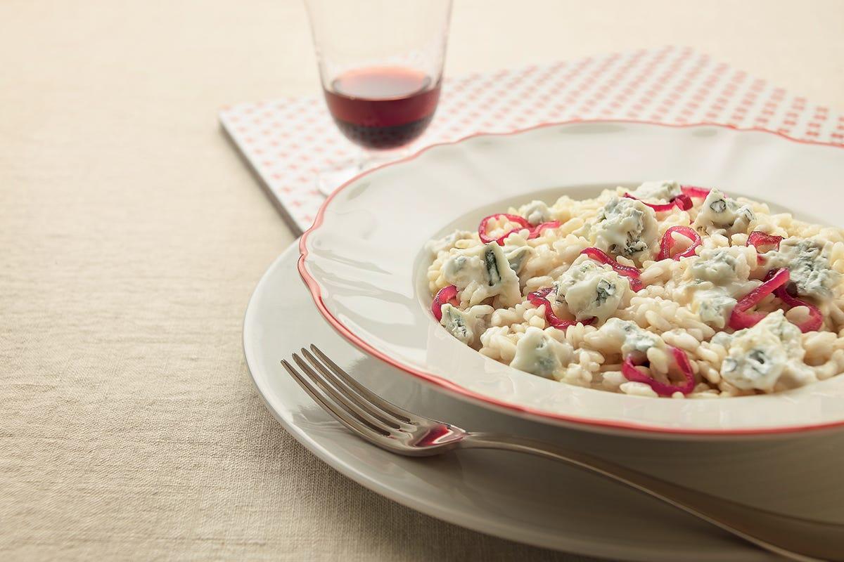 Il risotto Risotto con Gorgonzola Dop e cipolle rosse caramellate