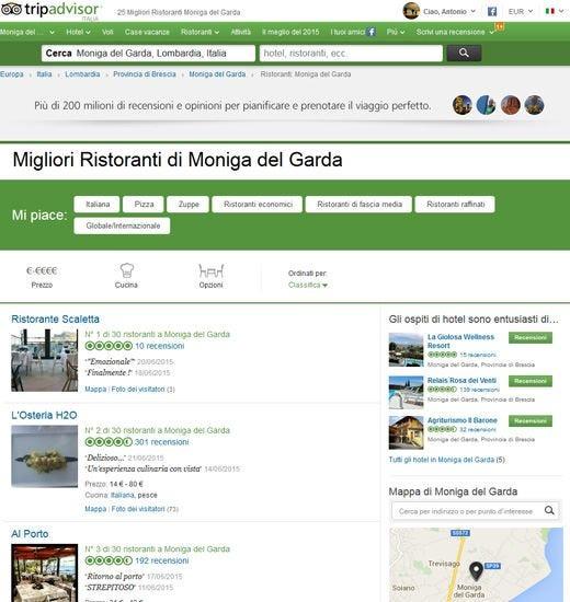 È il 1° in classifica su TripAdvisor Ma il ristorante di Moniga non esiste
