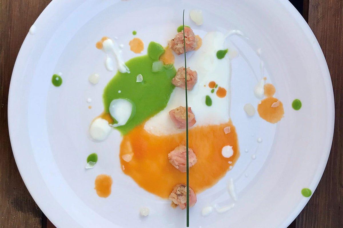 Trota salmonata in bianco, verde e arancio Trota salmonata in bianco, verde e arancio