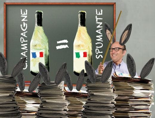 Spumante <font color='red'>versus</font> Champagne Zanella bacchetta (?) la stampa